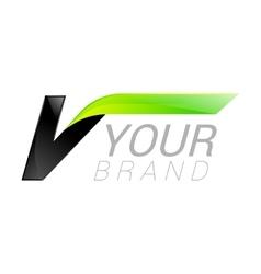 V letter black and green logo design Fast speed vector