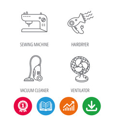 Ventilator sewing machine and hairdryer icons vector