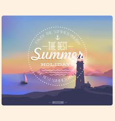vintage card sunset seascape vector image