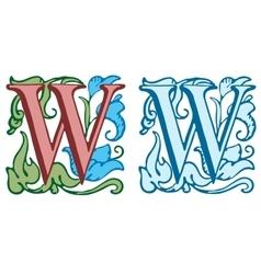Vintage initials letter w vector image