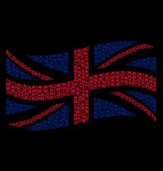 Waving british flag pattern of clock tower items vector