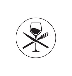 Wineglass knife and fork vector