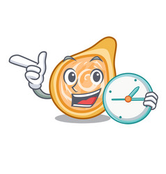 With clock snacks coxinha on a character plates vector
