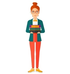 Woman holding pile of books vector