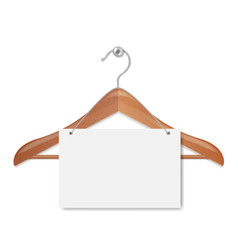 wooden hanger with paper banner isolated white vector image