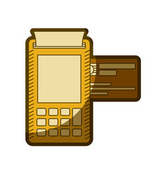 Yellow aged silhouette of payment terminal with vector