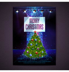 Disco background Merry Christmas poster vector image vector image