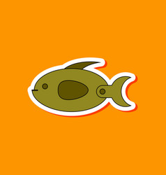 Paper sticker on stylish background kids toy fish vector