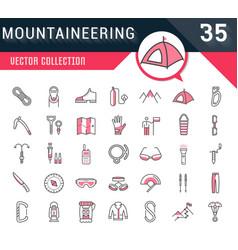 Set flat line icons mountaineering vector
