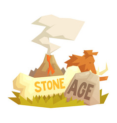 stone age elements volcanic eruption mammoth vector image