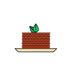 cake slice food thin line icon vector image