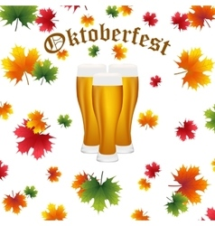 Festival Oktoberfest in the fall and beer vector image