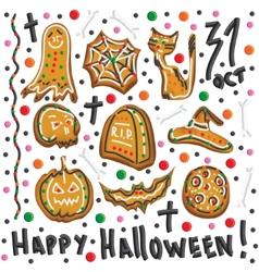 Halloween cookies symbols of halloween set vector