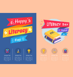 Happy literacy day collection of colorful posters vector