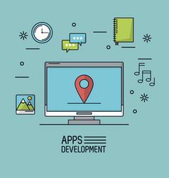 light blue background poster of apps development vector image vector image