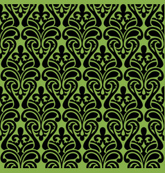 seamless damascus ornament on greenery background vector image
