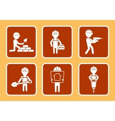 set construction icons with builders man vector image