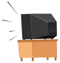 Back of television on shelf vector image vector image