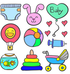Doodle of baby theme toy set vector