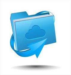 Folder with cloud computing symbol vector image vector image