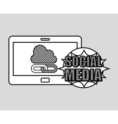 hand drawing cloud link social media mobile vector image