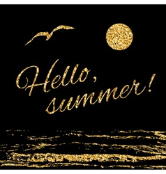 Hello summer Typography background waves vector image vector image