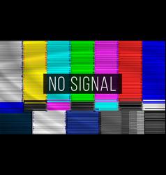 no signal tv descendant network rainbow bars vector image