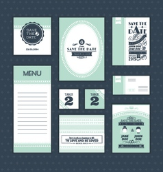 Set of vintage wedding cards vector image vector image