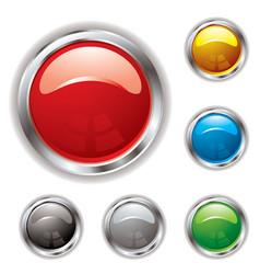 silver bevel gel button vector image