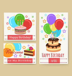 Birthday greeting card templates for kids vector