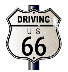 driving route 66 sign vector image