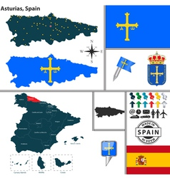 Map of Asturias vector image vector image