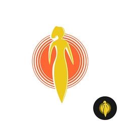Tanning salon logo Solarium concept Woman figure vector image vector image