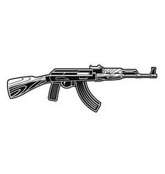 A black and white an ak 47 rifle vector