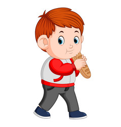 a boy with big loaf of bread vector image