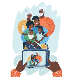 African american family take selfie on smartphone vector