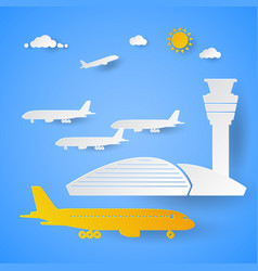 airport terminal with planes cut paper vector image vector image
