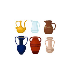 Ancient greek amphoric vases isolated on vector