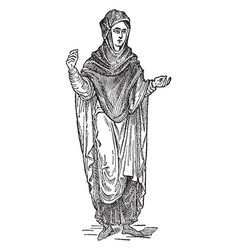 anglo-saxon female costume vintage engraving vector image