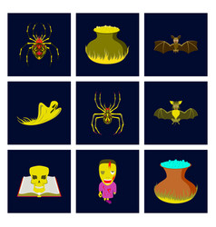 assembly flat cute bat spider book vector image