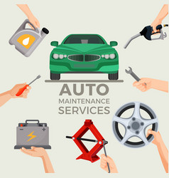 Auto maintenance services set with green car in vector