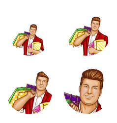 avatar fat man shopping bags vector image
