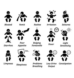 Baby illness and sickness sign and symptoms vector