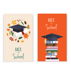 back to school card set with books graduation hat vector image