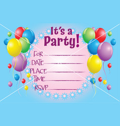 Balloon invitation background party invite vector