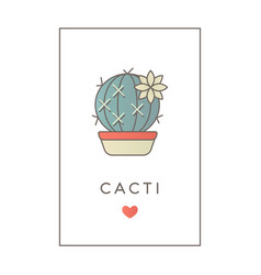 banner flat line color icon cactus vector image