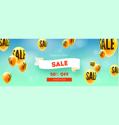 banner with sale price cut offer balloons flying vector image