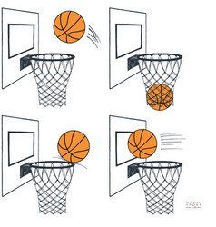 Basket ball action set graphic vector