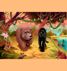 bear and black panther together in jungle vector image