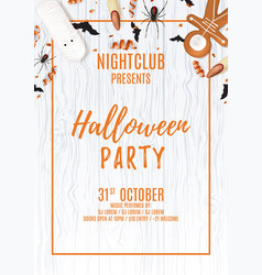 beautiful halloween party flyer with treats vector image